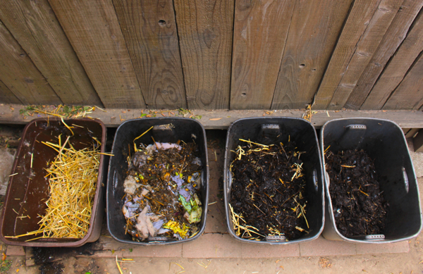 compost using rubber bins