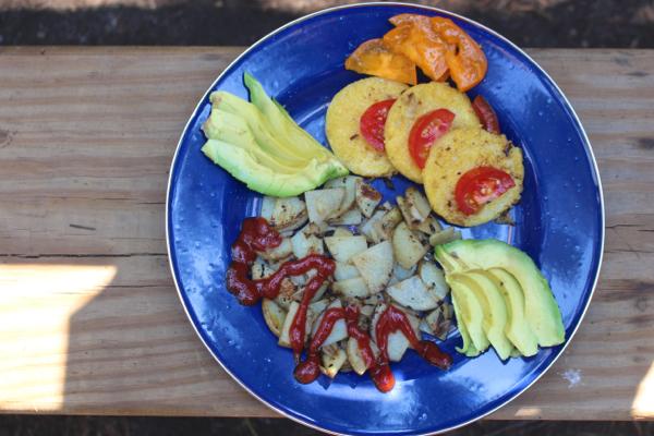camping breakfast polenta