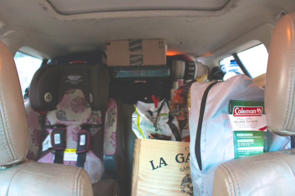 car packed full camping