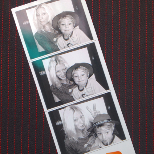 mom and son photobooth