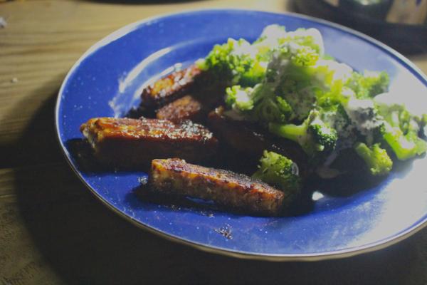 vegan camping tempeh ribs