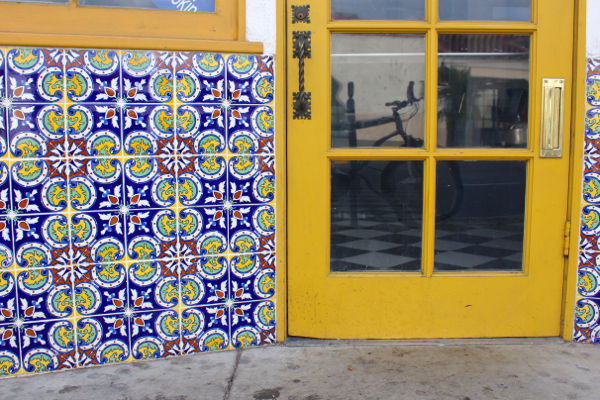 spanish tile yellow door