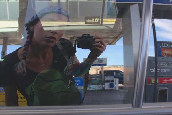 gas station reflection