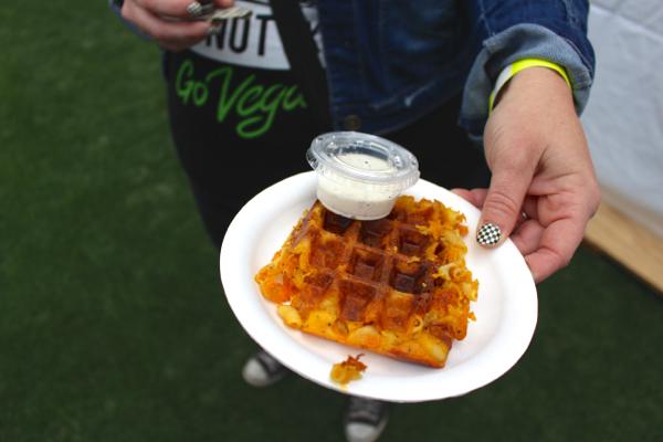 vegan mac n cheese waffle