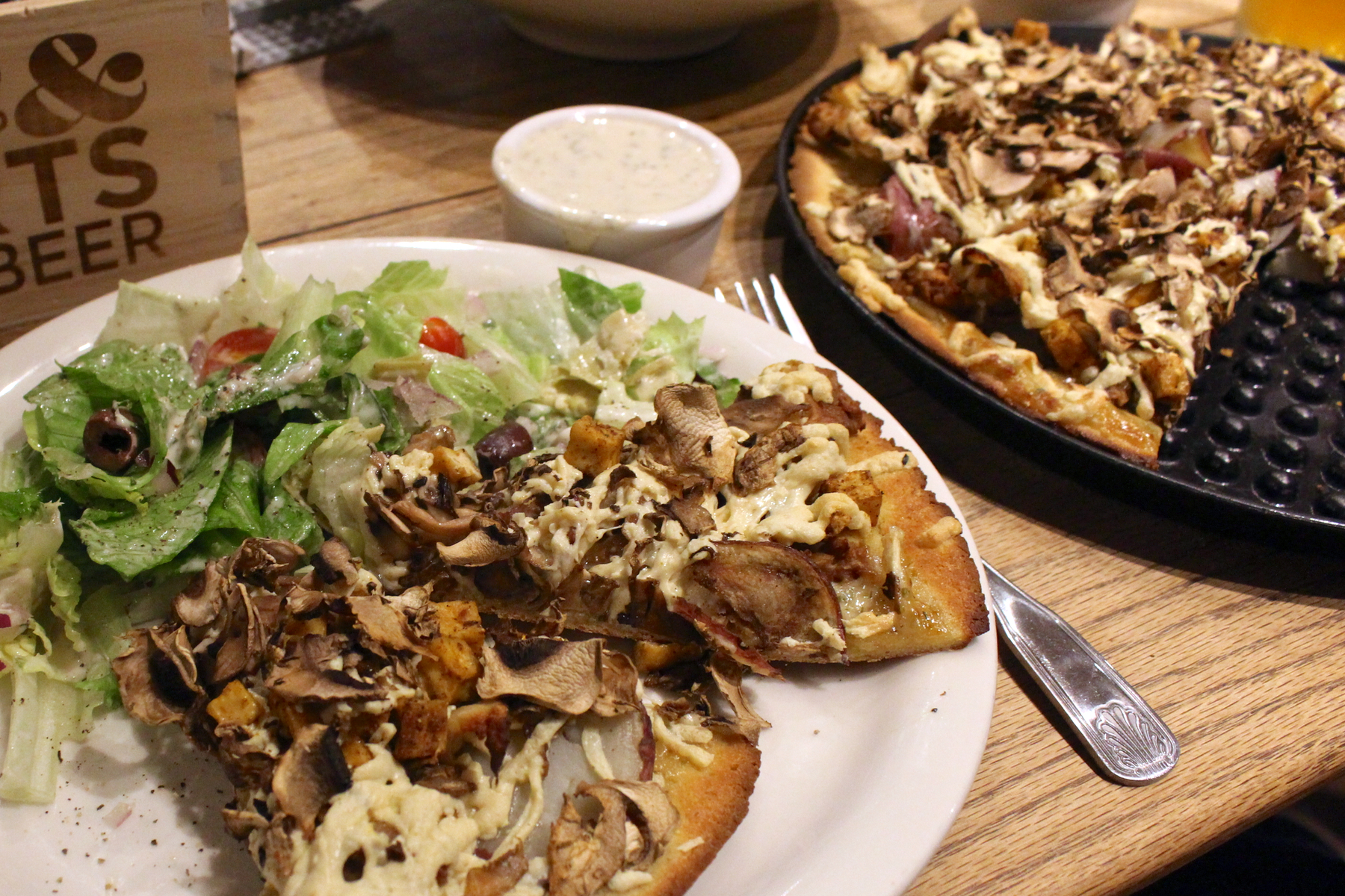 ... rosemary potatoes, mushroom medley, tofu, and garlic. With vegan ranch